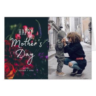 Mörkt blom- mors dagfotokort hälsningskort