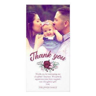 Mörkt foto för tack för plommonbukett med rosordop fotokort