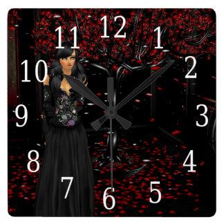 Mörkt gotiskt tar tid på fyrkantig klocka