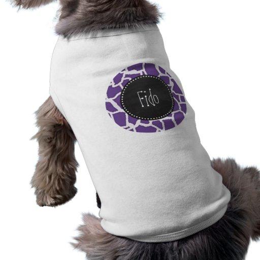 Mörkt lavendelgirafftryck; Retro svart tavla Hund Tee Shirt