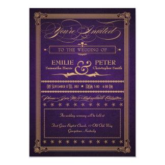 Mörkt purpurfärgat bröllop & mottagande för 12,7 x 17,8 cm inbjudningskort