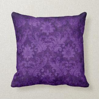 Mörkt purpurfärgat damastast blom- dekorativt kudde