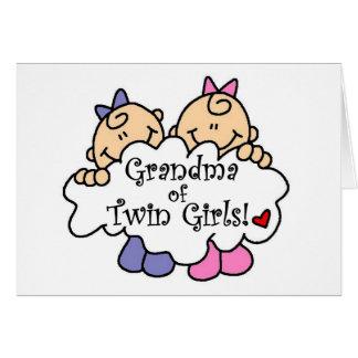 Mormor av tvilling- flickaTshirts och gåvor Hälsningskort