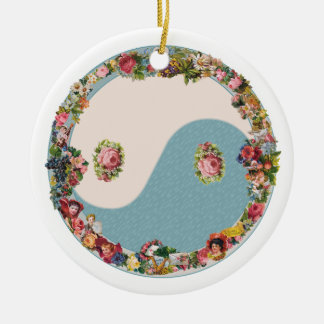 Mormor blom- Yin Yang prydnad Julgransprydnad Keramik