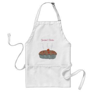 Mormor förkläde för paj för kök körsbärsrött