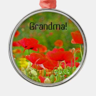 Mormor! hängande blommor för prydnadgåvavallmo julgransprydnad metall