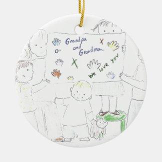 Mormor och morfar julgransprydnad keramik