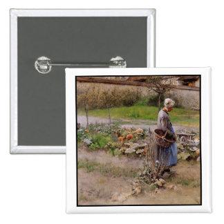 Mormor och skörd i Oktober Standard Kanpp Fyrkantig 5.1 Cm