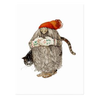 Mormorjul Tomten med den gråa katten Vykort