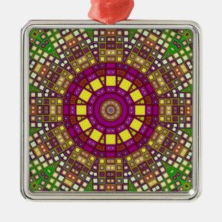 Morrocan mosaisk Kaleidoscope 2 Silverfärgad Fyrkantigt Julgransprydnad