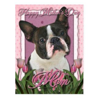 Mors dag - rosa tulpan - Boston Terrier Vykort