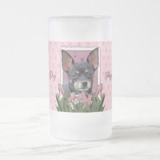 Mors dag - rosa tulpan - Chihuahua - Isabella Frostat Ölglas