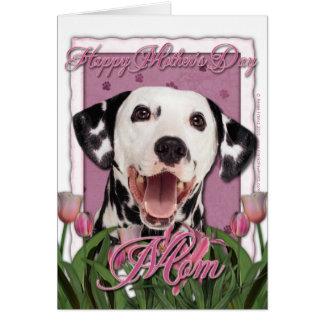 Mors dag - rosa tulpan - Dalmatian Hälsningskort