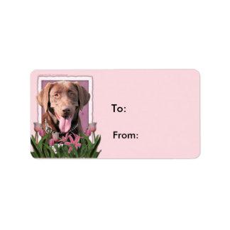 Mors dag - rosa tulpan - Labrador - choklad Adressetikett