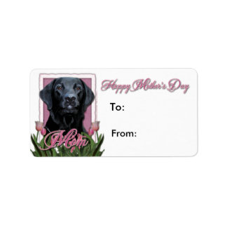 Mors dag - rosa tulpan - Labrador - svart - Gag Adressetikett