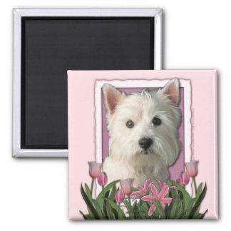 Mors dag - rosa tulpan - västra höglands- Terrier Magneter För Kylskåp
