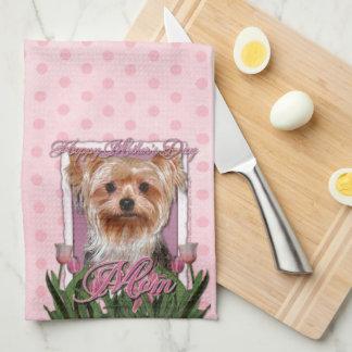 Mors dag - rosa tulpan - Yorkshire Terrier Kökshandduk