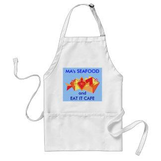 Morsa skaldjur och äter det cafen förkläde