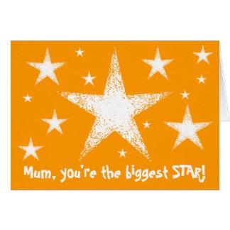Morsan är du den största STJÄRNAN! | orange Hälsningskort