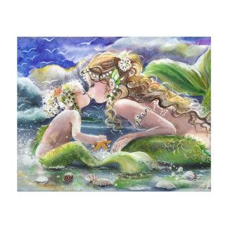Morsjöjungfru och barn i grönt canvastryck
