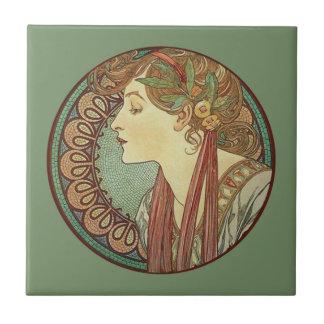 Mosaiken för grönt för vintageart décodamen belägg liten kakelplatta