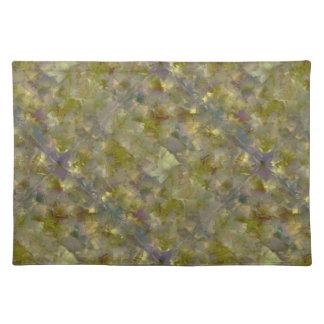 Mosaisk bomullsbordstablett för gul guld- Cubism Bordstablett