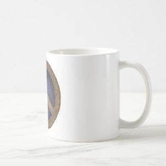 Mosaisk fredstecken i guld och deppighet kaffemugg