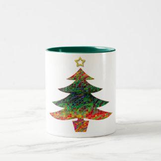 Mosaisk julgran Två-Tonad mugg