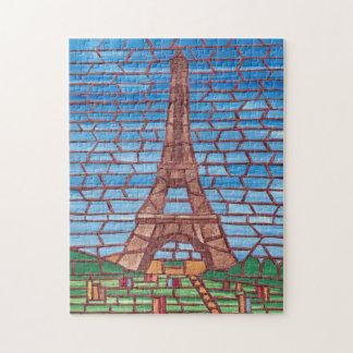 Mosaiska måla Eiffel tornpussel Pussel