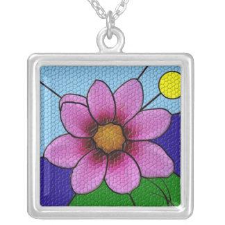 Mosaiskt blommahalsband silverpläterat halsband