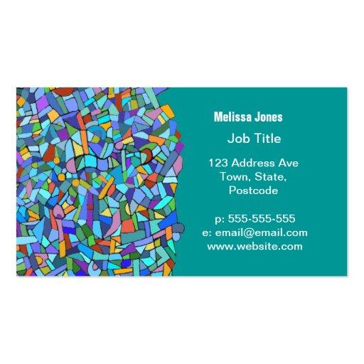 Mosaiskt mönster för abstrakt färgrika blått visit kort