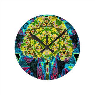 Mosaiskt mönster för livets träd rund klocka