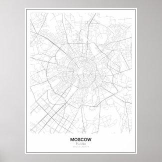 Moscow Ryssland Minimalist karta Poster