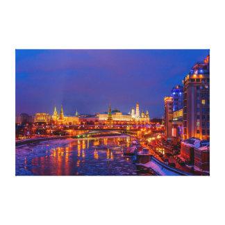 Moscow upplyst Kremlin Canvastryck
