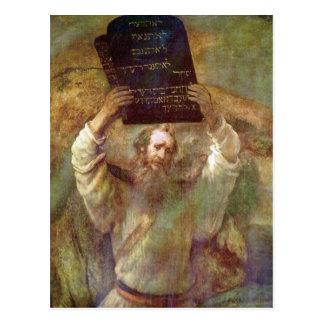 Moses med commandmentsna av Rembrandt Vykort