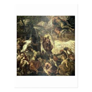 Moses slå vatten från stenen, 1575 vykort