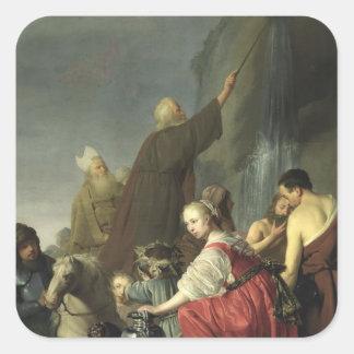 Moses slå vatten från stenen fyrkantigt klistermärke