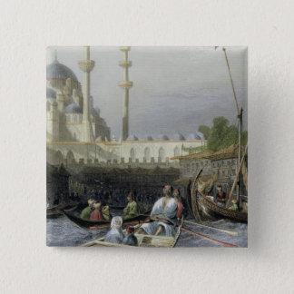Moské av Sultana Valide från porten, inristat b Standard Kanpp Fyrkantig 5.1 Cm