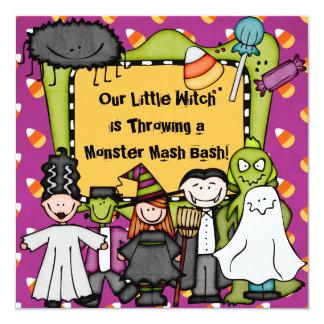 Mossig halloween festinbjudan för godis fyrkantigt 13,3 cm inbjudningskort