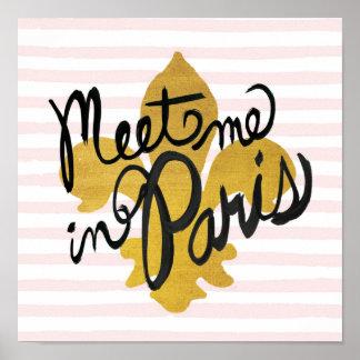 Möt mig i den Paris svarten och guld Poster