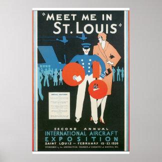 Möt mig i konstverk för St Louis vintage Poster
