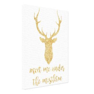 Möt mig under mistletoen - guld- julhjort canvastryck