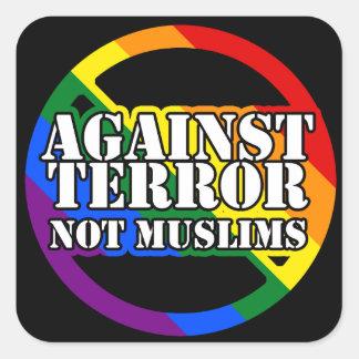 Mot skräck inte Muslimsregnbågeklistermärkear Fyrkantigt Klistermärke