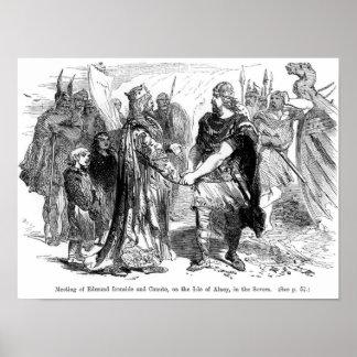 Möte av Edmund Ironside och Canute Poster