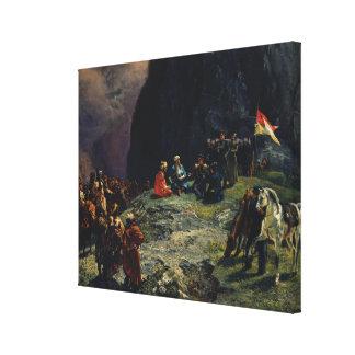 Möte av Gen.Kluke von Klugenau & Imam Canvastryck