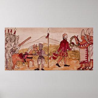 Möte av Hernando Cortes och Montezuma Poster