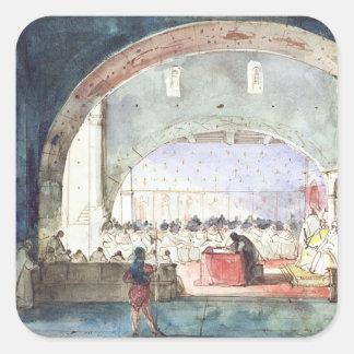 Möte av kapitlet av beställa av tempelet fyrkantigt klistermärke