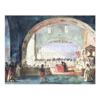 Möte av kapitlet av beställa av tempelet vykort