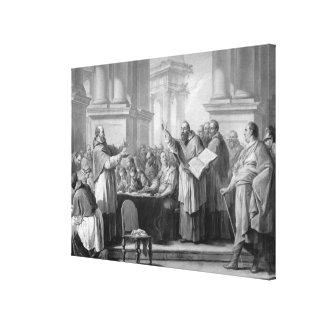 Möte av St Augustine och Donatistsen Canvastryck