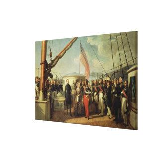 Möte b/w Louis-Philippe och drottning Victoria Canvastryck